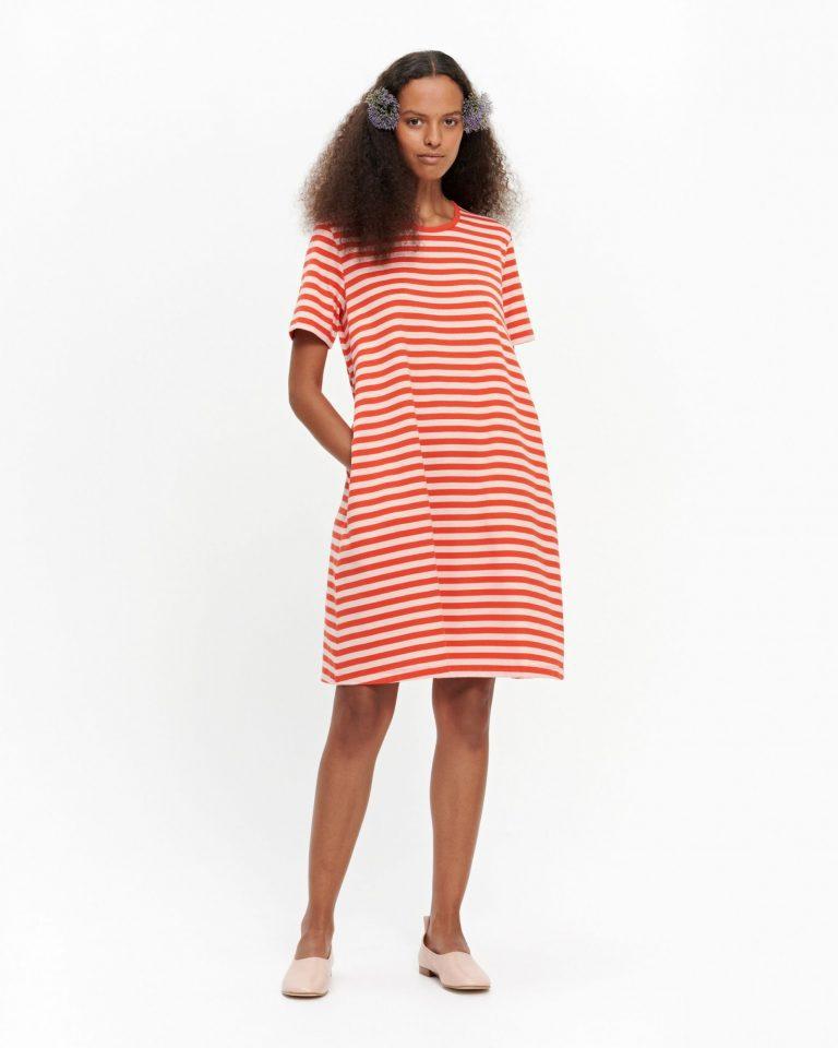 Marimekko Tasaraita Jersey Dress Korallinpunainen