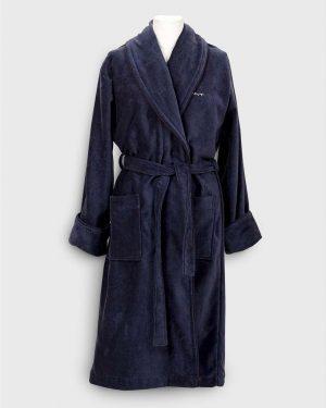 Gant Home Premium Velour Robe Tummansininen