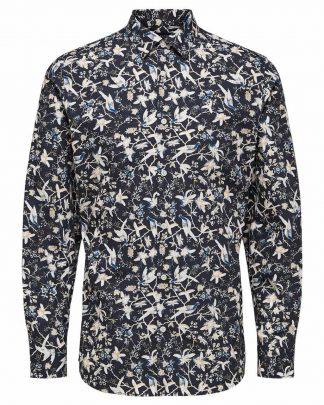 Selected Slimpen-Rory Shirt Aop Blue Sininen