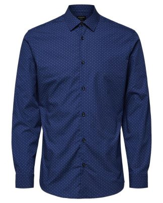 Selected Slimpen-Circle Shirt Aop Blue Sininen