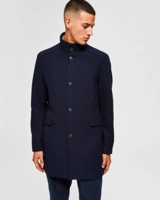 Selected Mosto Wool Coat Blue Sininen