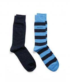 Gant O1.2-Pack Barstripe And Solid Sock Blue