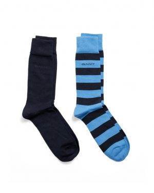 Gant O1.2-Pack Barstripe And Solid Sock Blue