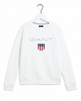 Gant Shield Logo C-Neck Sweat Luonnon Valkoinen