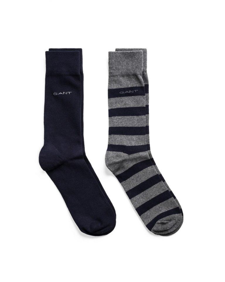 Gant D1.2-Pack Barstripe And Solid Sock Grey