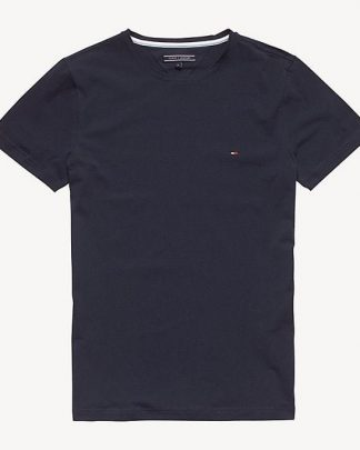 Hilfiger New Stretch C-Nk T-Shirt Tumman Sininen