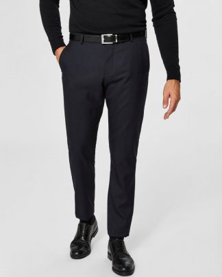Selected Slim-Mylohigh Navy Trousers Tumman Sininen
