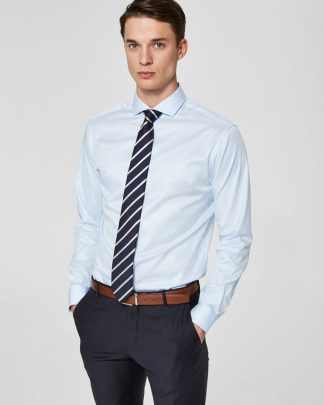 Selected Slimsel-Pelle Shirt Ls Vaalean Sininen