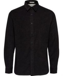 Selected Regcraig-Cord Shirt Ls Black Musta