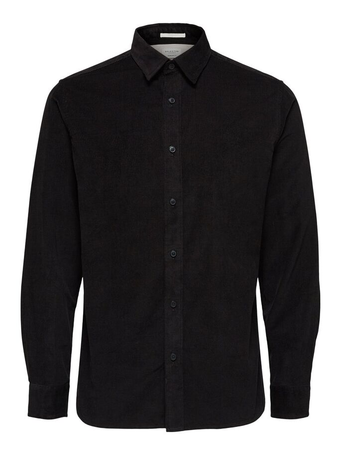 Selected Regcraig-Cord Shirt Ls Black Musta