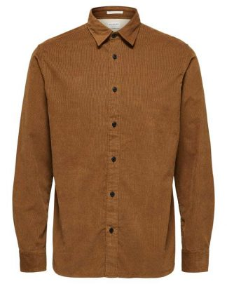 Selected Regcraig-Cord Shirt Ls Ruskea