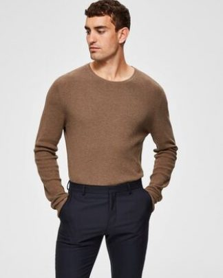 Selected Dante Camp Crew Neck Brown Ruskea