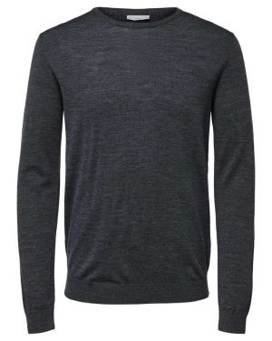 Selected Tower New Merino Crew Neck Grey Harmaa