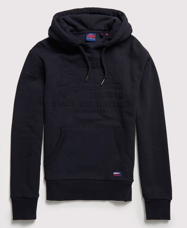Superdry Sweat Shirt Shop Embossed Hood Blue