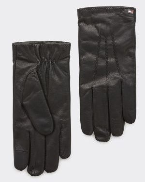 Tommy Hilfiger Flag Leather Gloves Musta