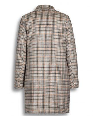 Beaumont Printed Faux Suede Blazer Coat Ruudullinen