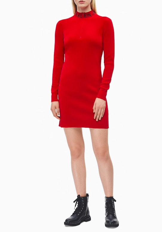 Calvin Klein Jeans Neck Logo Bodycon Dress Punainen