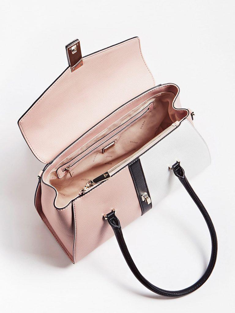 Guess Asher Flap Satchel Bag Vaaleanpunainen
