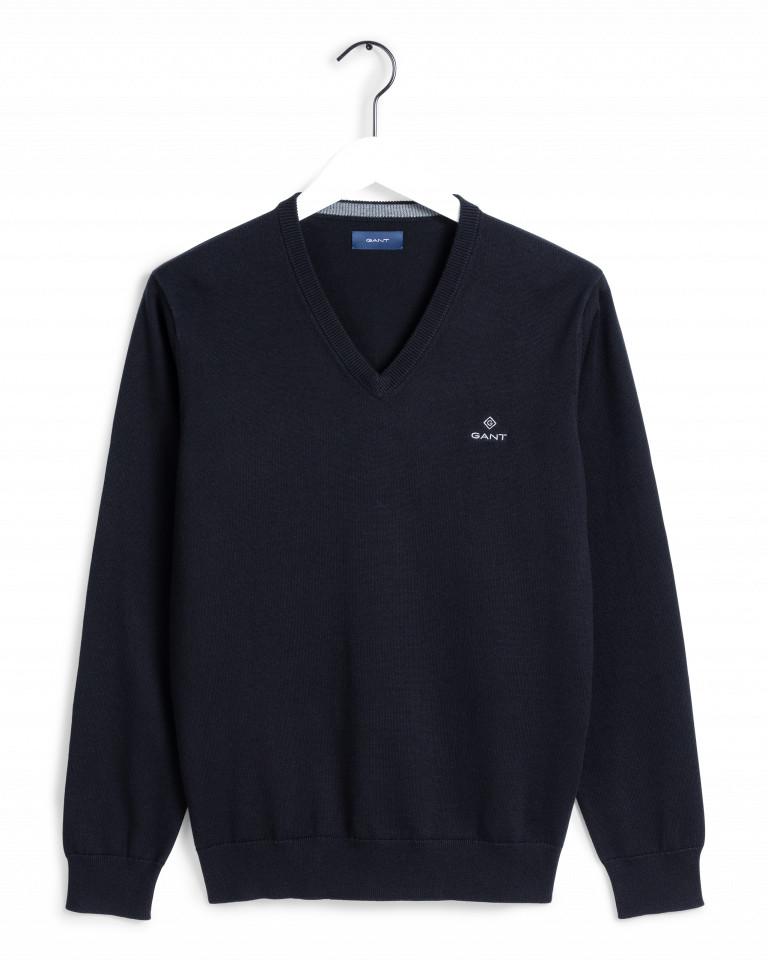 Gant Classic Cotton V-Neck Sweater Sininen