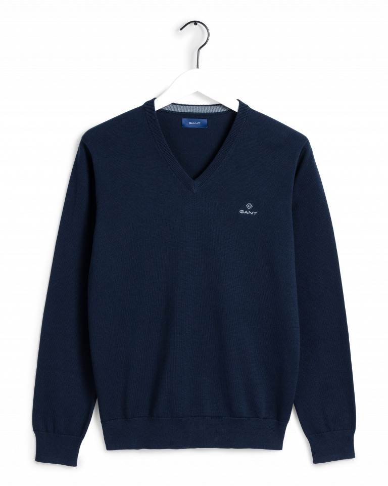 Gant Classic Cotton V-Neck Sweater Sininen