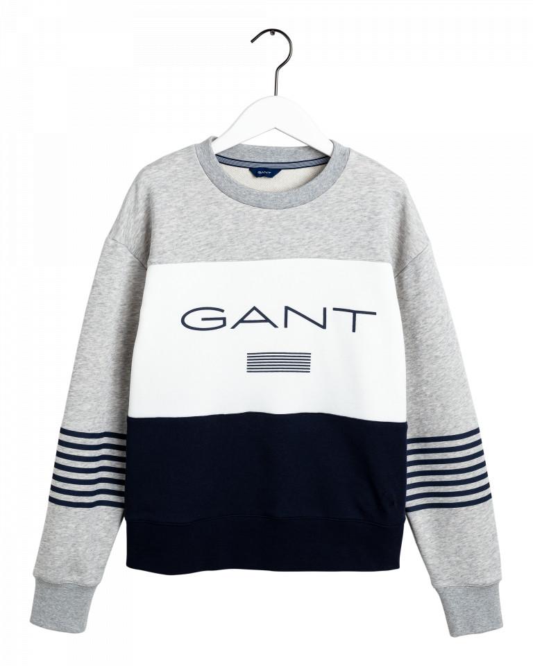 Gant Stripe C-Neck Sweat Vaaleanharmaa