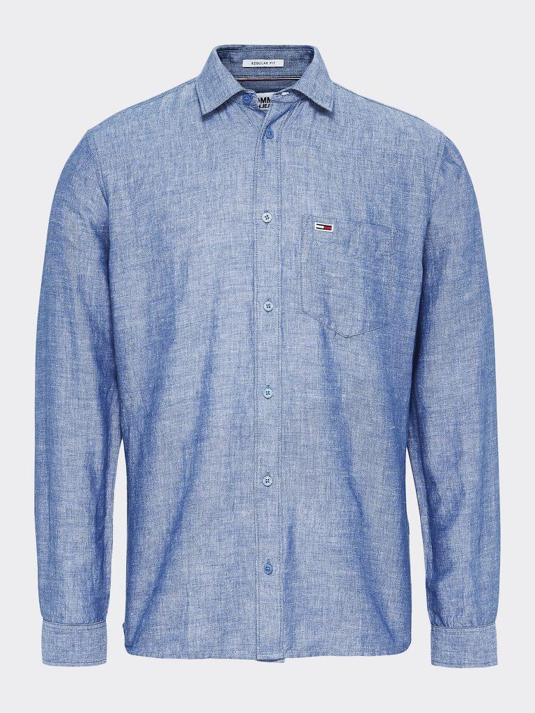 Tommy Jeans Linen Blend Shirt Sininen