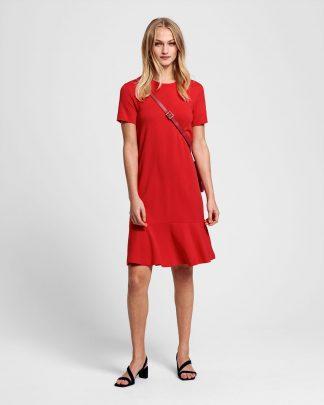 Gant Flounce Detail Dress Red