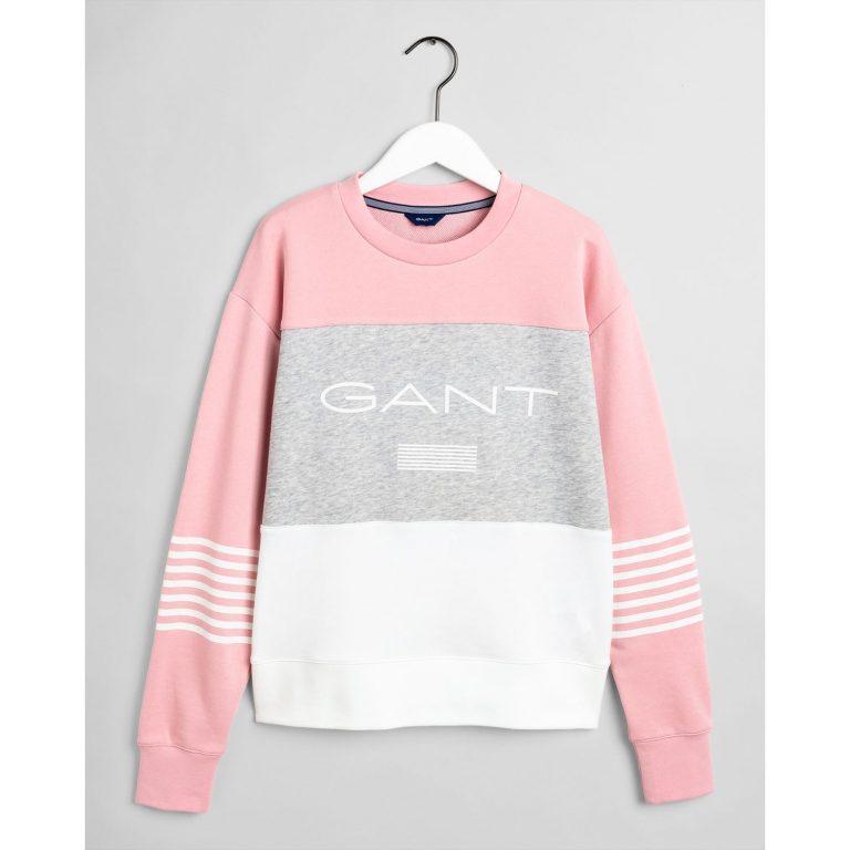 Gant Stripe C-Neck Sweat Rose