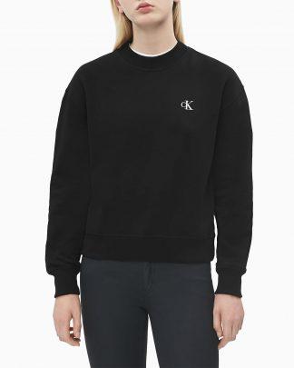 Calvin Klein Logo Embroidery Crew Neck Black