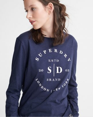 Superdry Tilly Lace Graphic Top Navy
