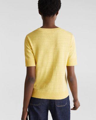 Esprit Cotton/Linen Sweater Yellow