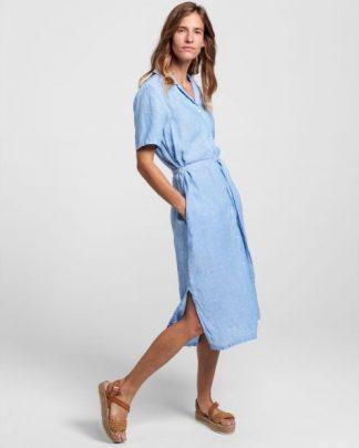 Gant Linen Chambray Shirt Dress Pacific Blue