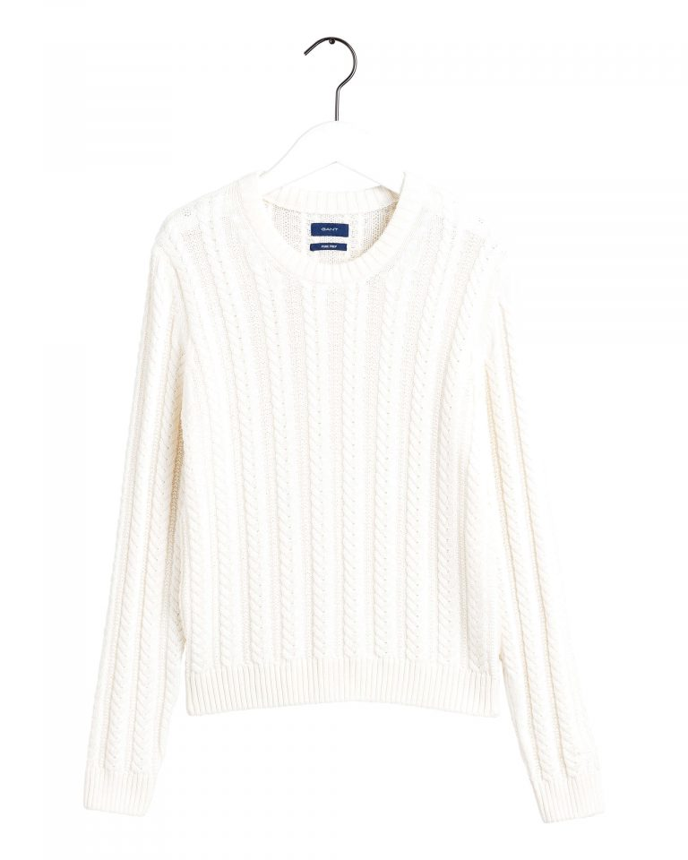 Gant Cable Knit Crew Off white