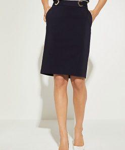 Comma Satin Skirt Dark Blue