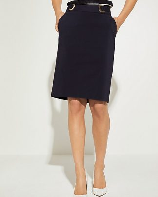 Comma Satin Skirt Dark Blue