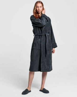 Gant Home Premium Velour Robe Grey