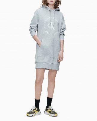 Calvin Klein Round Logo Hoodie Dress Grey