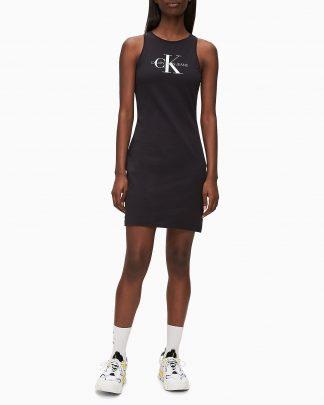 Calvin Klein Monogram Bodycon Dress Black