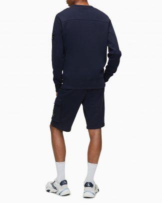 Calvin Klein Monogram Sleeve Badge Sweatshirt Navy