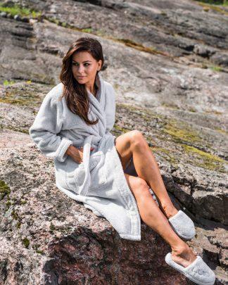 Luin Living Unisex Bath Robe Pearl Grey