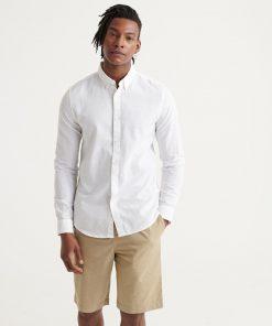 Superdry Edit Linen Button Down Shirt White