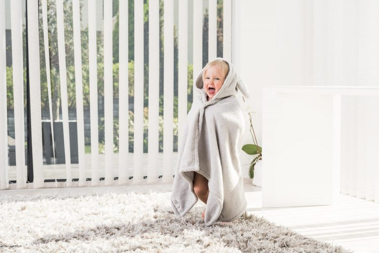 Luin Living Baby Bath Towel Pearl grey