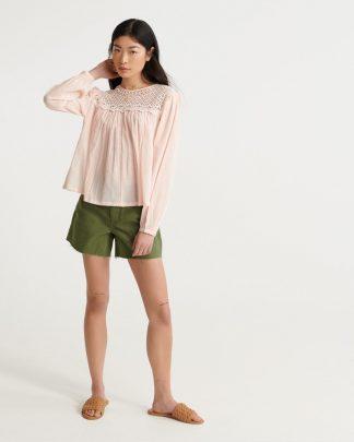 Superdry Ellison Lace Longsleeve Top Light Pink