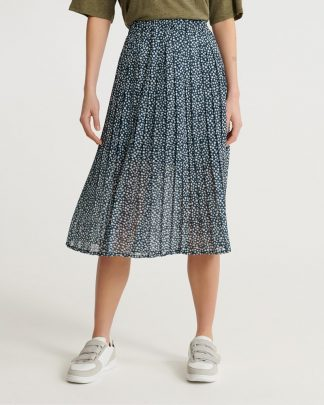 Superdry Summer Pleated Skirt Navy