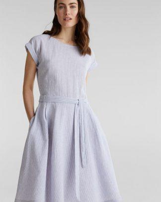 Esprit Linen Cotton Dress Light Blue