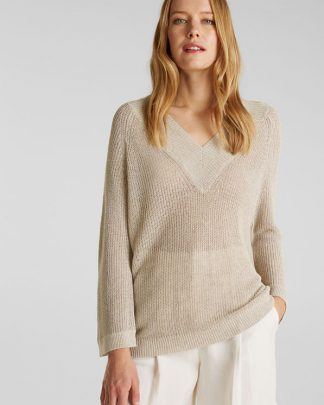 Esprit V-neck Sweater Beige