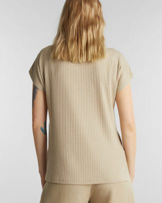 Esprit Rib T-shirt Beige
