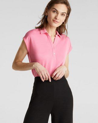 Esprit Pique T-shirt Pink