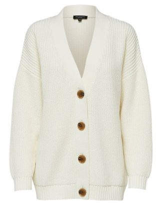 Selected Femme Bailey Knit Button Cardigan Snow White