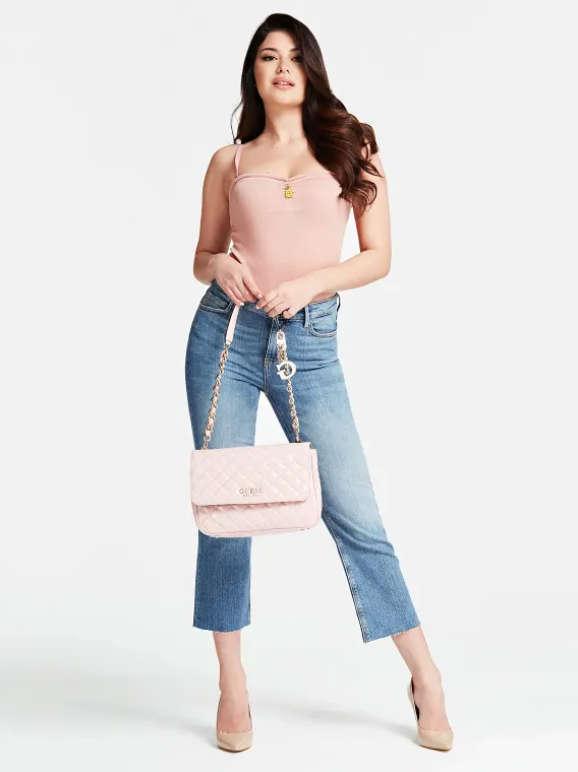 Guess Melise Patent Quilted Shoulder Bag Rose